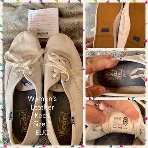 Women's White Leather Keds 9